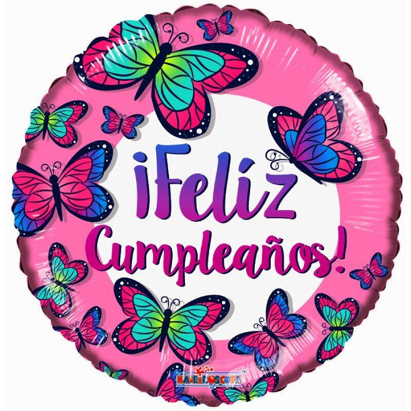 "Globo Metálico Cumpleaños Mensaje Feliz cumpleaños Mariposas 18"" Met"