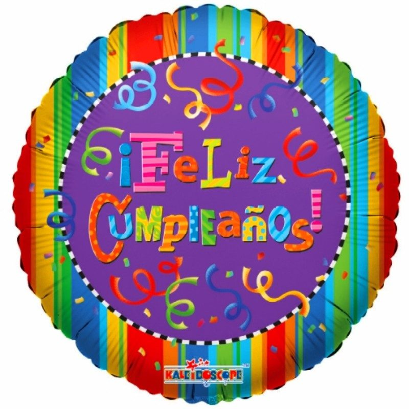 """Globo Metálico Cumpleaños Mensaje Feliz Cumpleaños Serpentinas 18"""" Met"""