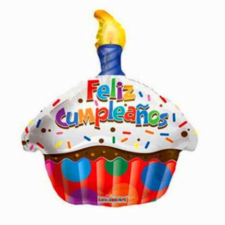 """Globo Metálico Cumpleaños Mensaje Cumpleaños Cupcake 18"""" Met"""