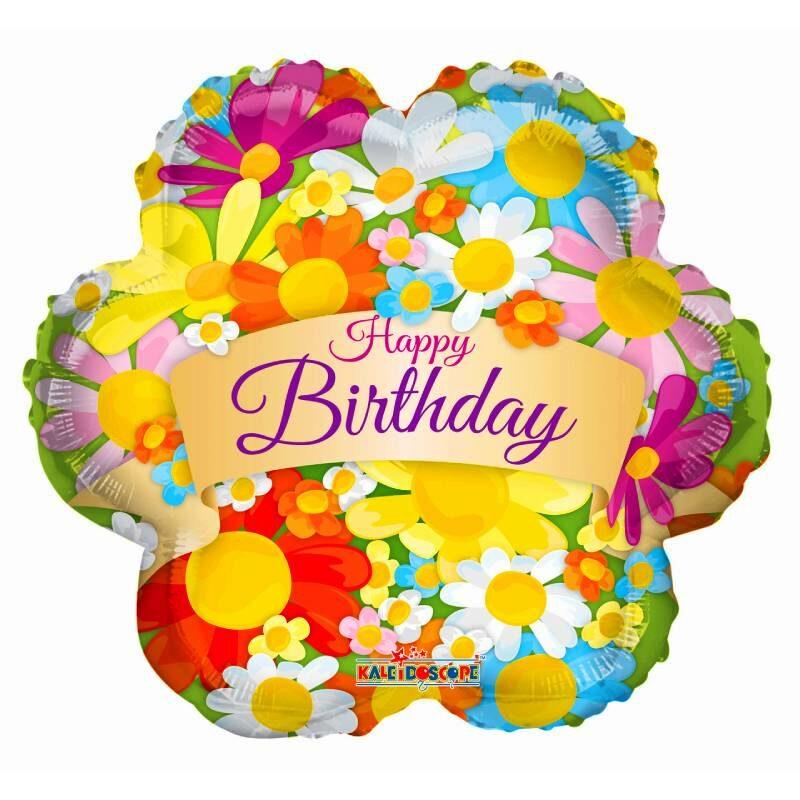 """Globo Metálico Cumpleaños Mensaje Happy Birthday Flores 18"""" Met"""