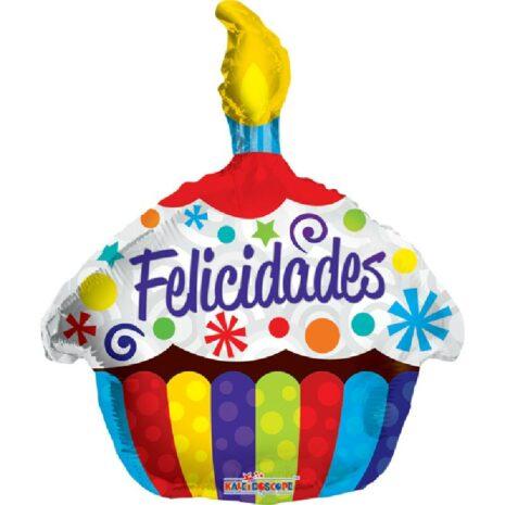 """Globo Metálico Cumpleaños felicidades Cupcake 18"""" Met"""