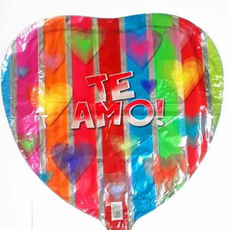 "Globo Metalico San Valentin te amo rayas 18""Met"