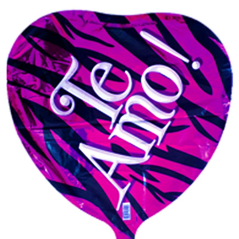 """Globo Metalico San Valentin te amo zebra 18"""""""