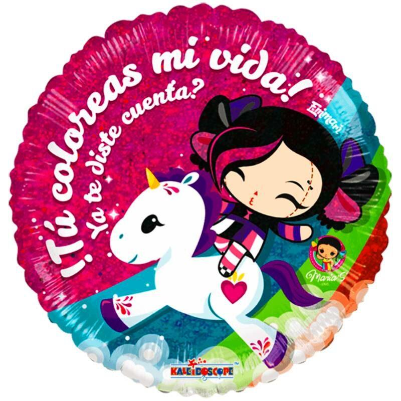 """Globo Metalico San Valentin marias unicornios 9"""""""