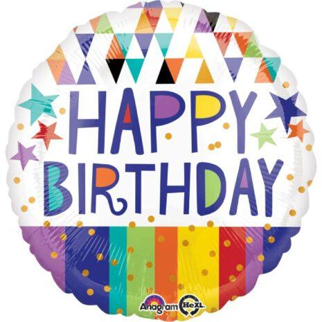 "Globo Metálico Cumpleaños Happy birthday triangles, stripes & star 18"" Met"