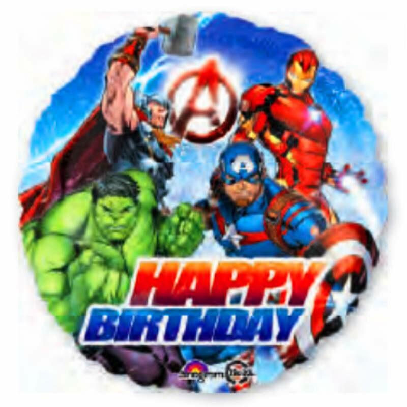 """Globo Metálico Avengers Happy Birthday 18"""""""