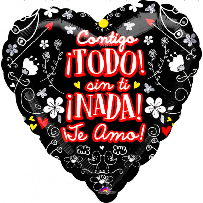 "Globo Metalico San Valentin contigo todo 18"" Met"