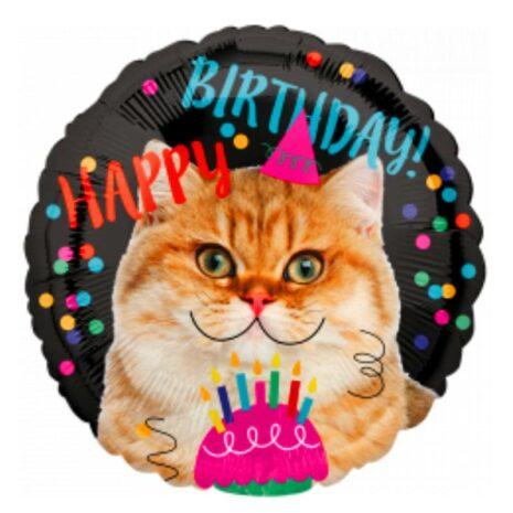 "Globo Metálico Cumpleaños Mensaje Happey birthday cat 18"""
