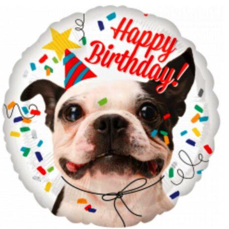 """Globo Metálico Cumpleaños Mensaje Happy birthday Dog 18"""""""