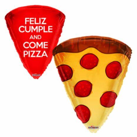 """Globo Metálico Cumpleaños Mensaje Rebanada de pizza 18"""""""