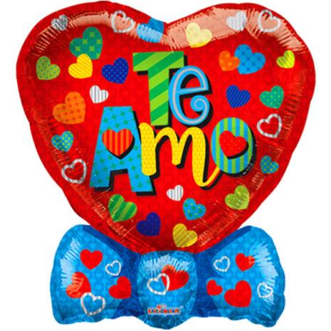 "Globo Metalico San Valentin te amo corazon con moño 18"" Met"
