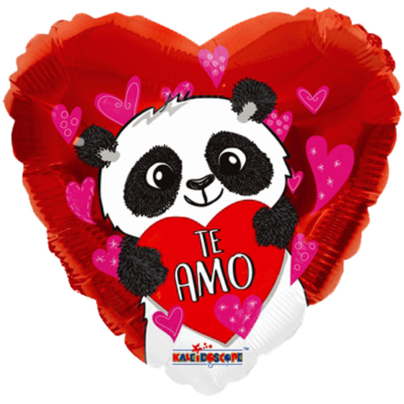 "Globo Metalico San Valentin te amo panda con corazon 18"" Met"