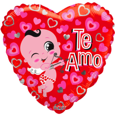 "Globo Metalico San Valentin te amo cupido 18"" Met"