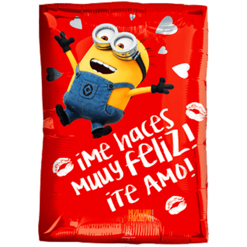 """Globo Metalico San Valentin minion feliz 18"""" Met"""
