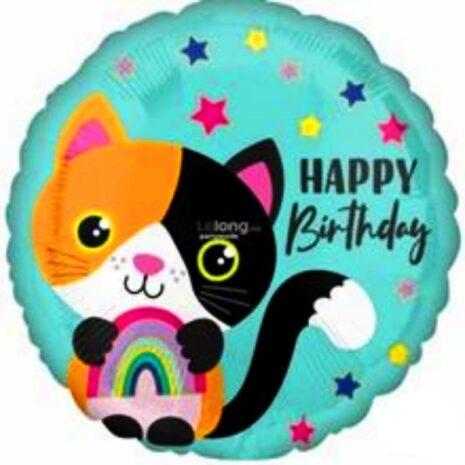 "Globo Metálico Cumpleaños Mensaje Calico cat Birthday 18"" Met"