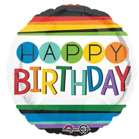 """Globo Metalico 18"""" Rainbow Happy Birthday"""