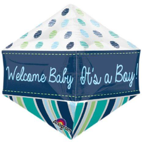 Globo Metalico Anglez Welcome Baby Boy