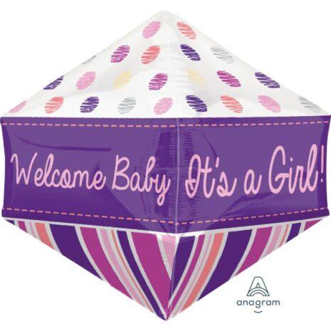 Globo Metalico Anglez Welcome Baby Girl