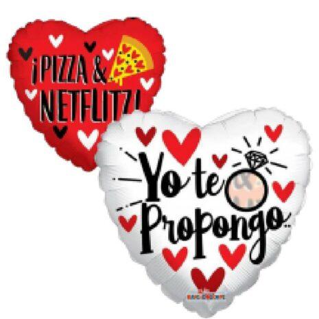 """Globo Metalico Yo te propongo Pizza y Netflix 18"""""""