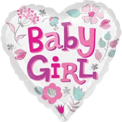 """Globo Metalico Baby Girl corazon 18"""""""