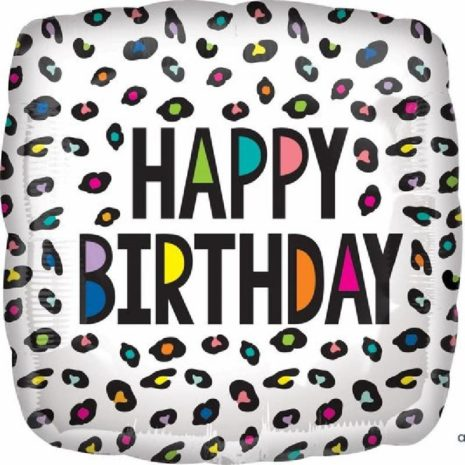 "Globo Metalico 18"" Rainbow Happy Birthday Leopardo"