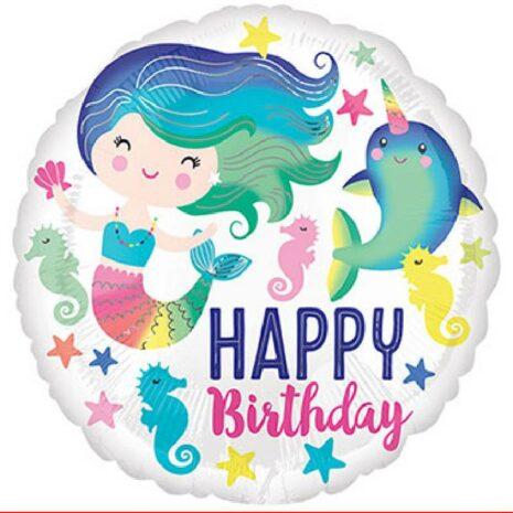 "Globo Metalico 18"" Colorful Ocean Fun Happy Birthday"