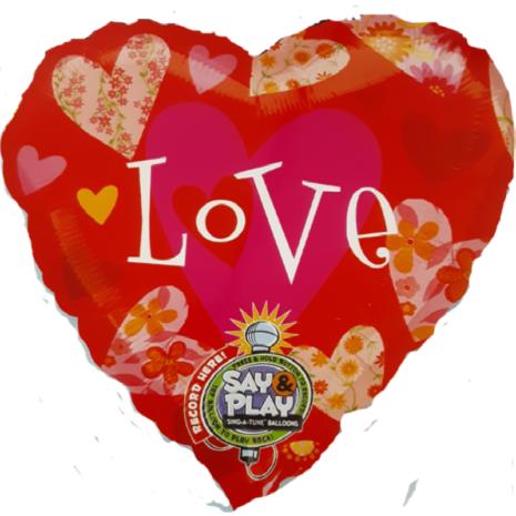 Globo Metalico San Valentin Figura Corazon Rojo Mensaje Love Recordable 32 Pulgadas
