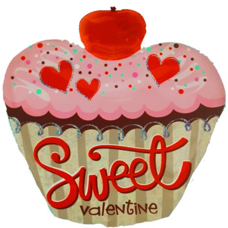 Globo Metalico Cupcake Rosa San Valentin Forma Cupcake 24 Pulgadas Acabado Holografico Marca Anagram