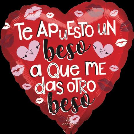 Globo Metalico San Valentin Te Apuesto Un Beso Tamaño 18 Pulgadas Material Metalico
