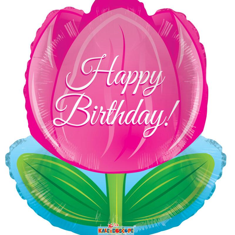 Globo Metalico Tulipan Rosa Happy Birthday, Cumpleaños,18 Pulgadas, Silueta de Flor, Marca Kaleidoscope