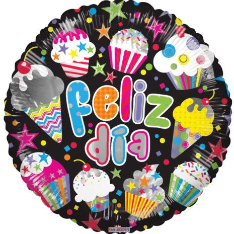 Globo Metalico Feliz Cumpleaños Pastel con Velas de Colores, Estrellas Pequeñas de Colores, Cumpleaños,18 Pulgadas en Forma Redonda, , Marca Kaleidoscope