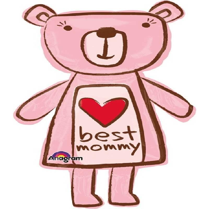 Globo Metalico Best Mommy Bear, 36 Pulgadas en Forma de Silueta, Marca Anagram