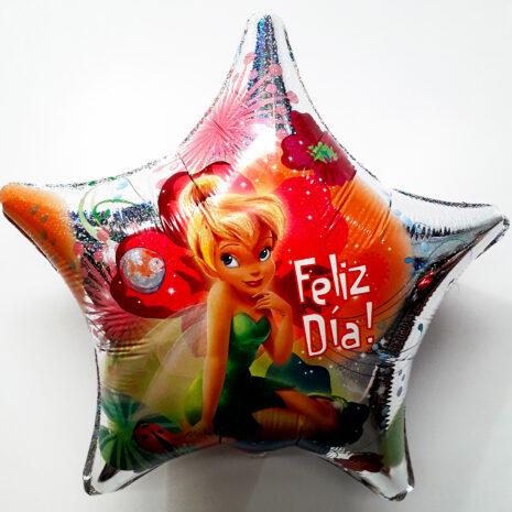 Globo Metalico Tinkerbell Feliz Dia de Cumpleaños, 18 Pulgadas en Forma de Estrella, Acabado Holografico, Marca Anagram