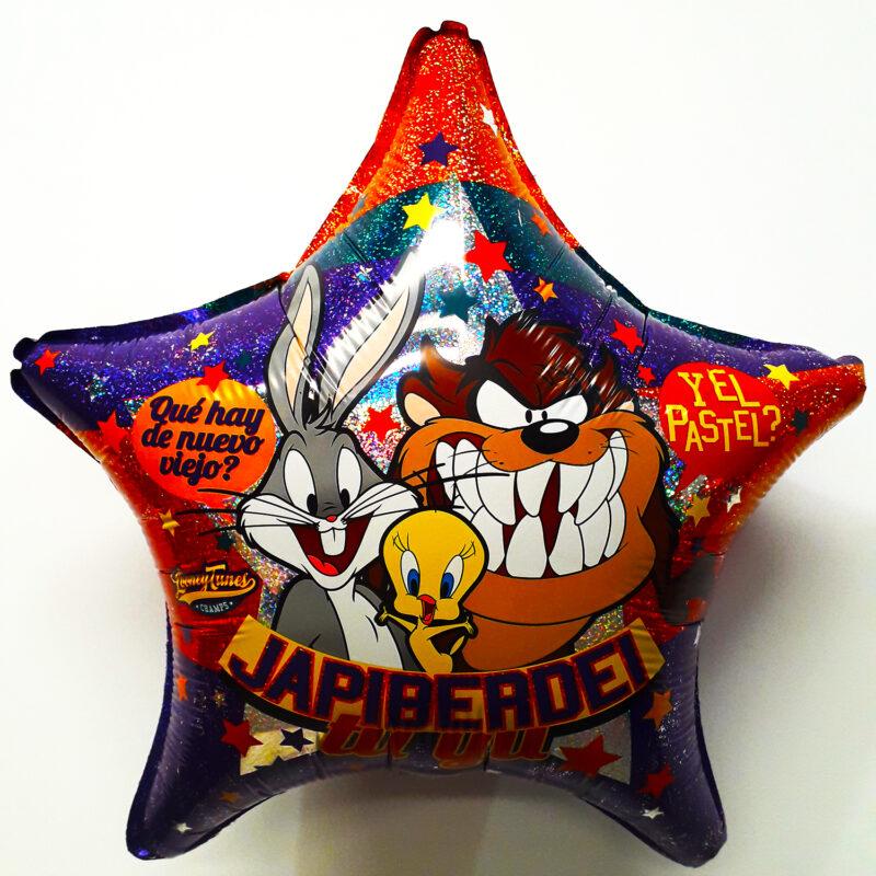Globo Metalico Looney Tunes Que Hay de Nuevo Viejo de Cumpleaños, 18 Pulgadas en Forma de Estrella, Acabado Holografico, Marca Anagram