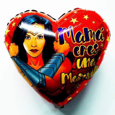 Globo Metalico Mami Eres Una Maravilla, 18 Pulgadas en Forma de Corazon, Acabado Holografico, Marca Kaleidoscope