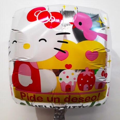 Globo Metalico Hello Kitty Pide Un Deseo de Cumpleaños, 18 Pulgadas en Forma Cuadrada, Marca Anagram