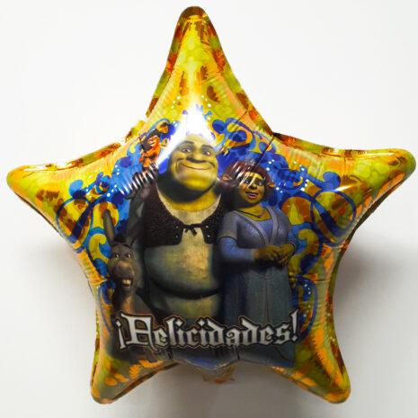 Globo Metalico Shrek y Fiona Felicidades de Cumpleaños, 18 Pulgadas en Forma de Estrella, Marca Kaleidoscope