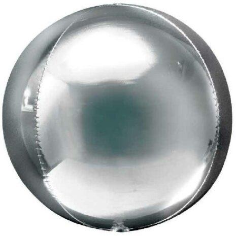 Globo Metalico Orbz Plata de Cumpleaños, 15 Pulgadas en Forma Circular, Marca Anagram