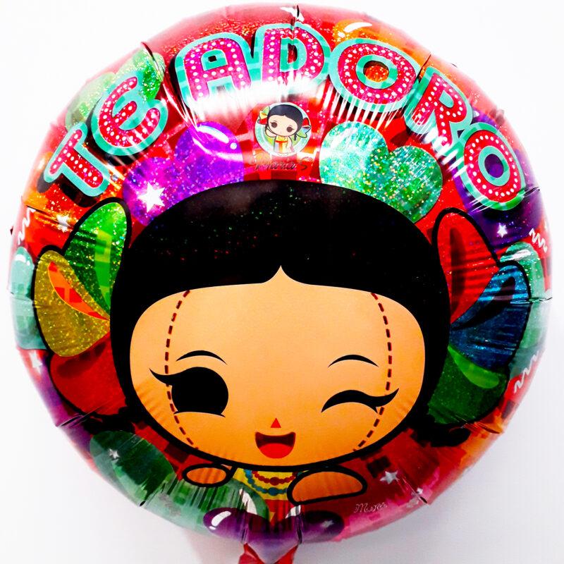 Globo Metalico Te adoro de Marias,18 Pulgadas en Forma Circular, Marca Kaleidoscope
