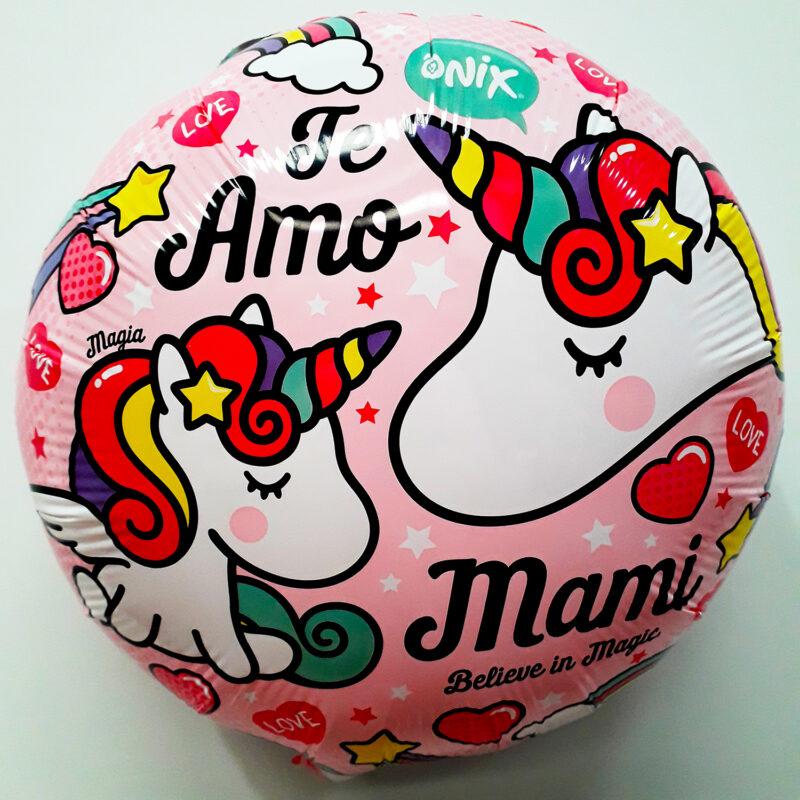 Globo Metalico Te Amo Mami de Unicornio, 18 Pulgadas en Forma Circular, Marca Kaleidoscope