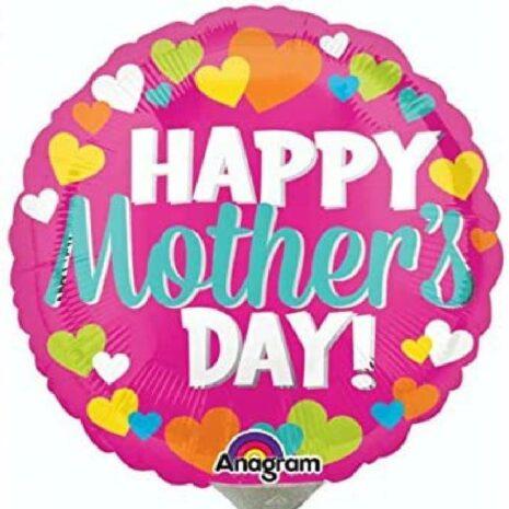 Globo Metalico Happy Mothers Day Flores, 36 Pulgadas en Forma Circular, Marca Anagram