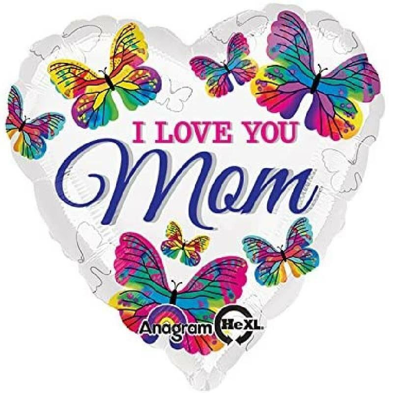 Globo Metalico Love You Mom Mariposas, 36 Pulgadas en Forma de Corazon, Marca Anagram