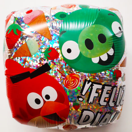Globo Metalico Angry Birds Feliz Dia de Cumpleaños, 18 Pulgadas en Forma Cuadrada, Acabado Holografico, Marca Anagram