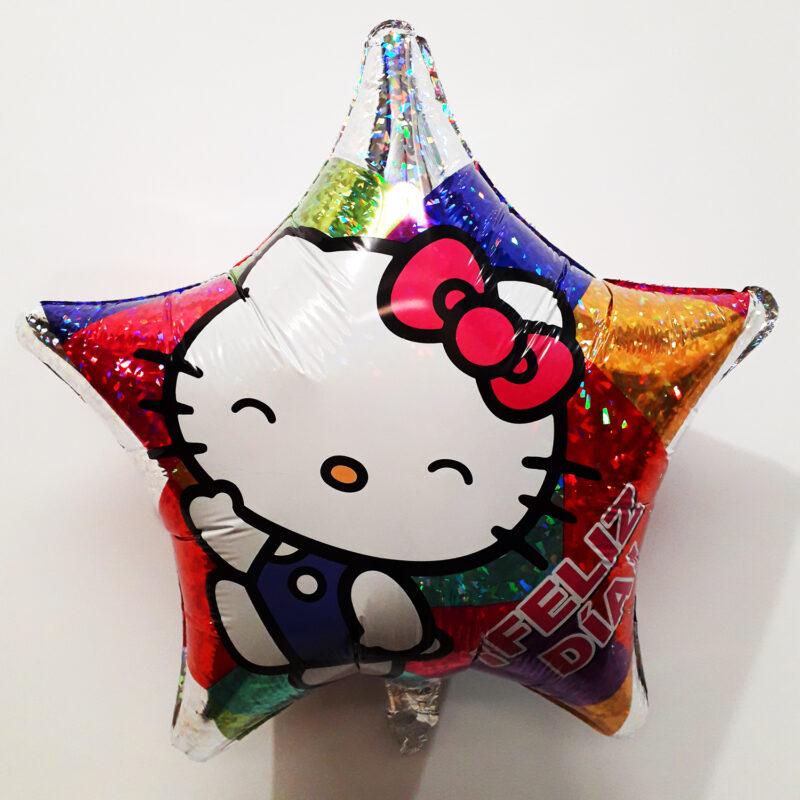 Globo Metalico Hello Kitty Feliz Dia de Cumpleaños, 18 Pulgadas en Forma de Estrella, Acabado Holografico, Marca Anagram