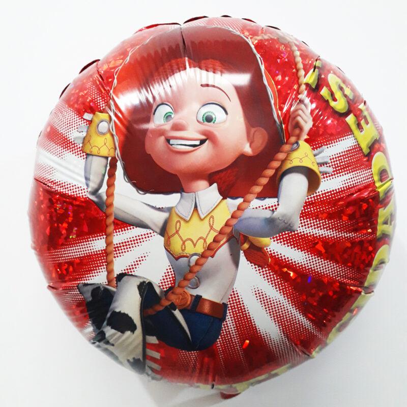 Globo Metalico Toy Story Jessy la Vaquerita Columpiando Felicidades de Cumpleños, 18 Pulgadas en Forma Circular, Acabado Holografico, Marca Anagram