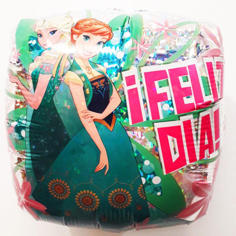 Globo Metalico Frozen Ana y Elsa Feliz Dia de Cumpleaños, 18 Pulgadas en Forma Cuadrada, Acabado Holografico, Marca Anagram