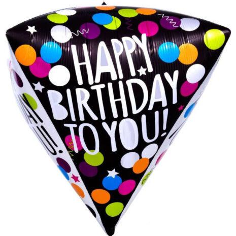 Globo Metalico Diamondz Happy Birthday To You de Cumpleaños, 15 Pulgadas en Forma Circular, Marca Anagram