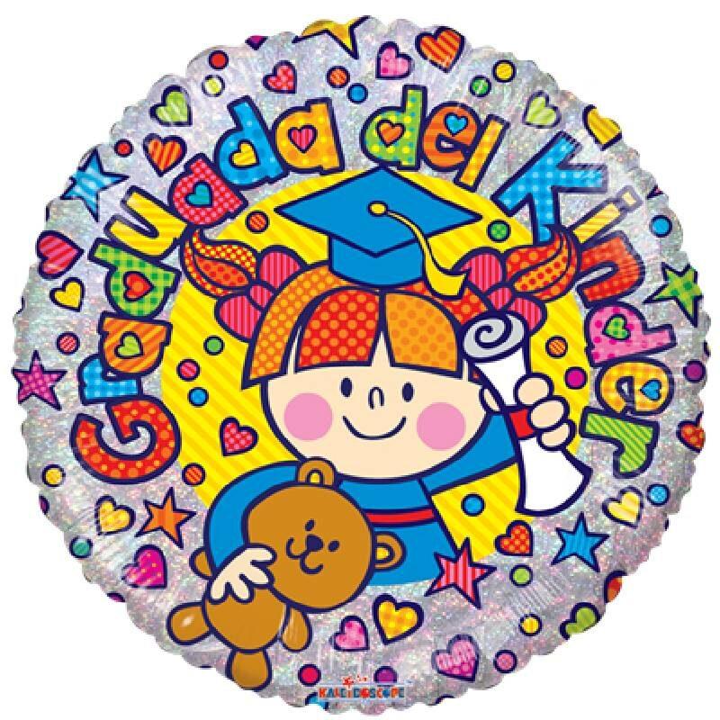 Globo Metalico Graduada del Kinder Niña con Osito Magia de Graduacion, 18 Pulgadas en Forma de Circular, Acabado Holografico, Marca Kaleidoscope