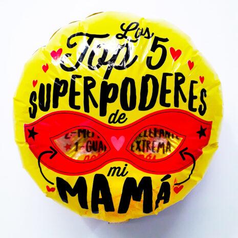 Globo Metalico Los Top 5 Super poderes de Mi Mama, 18 Pulgadas en Forma Circular, Marca Kaleidoscope