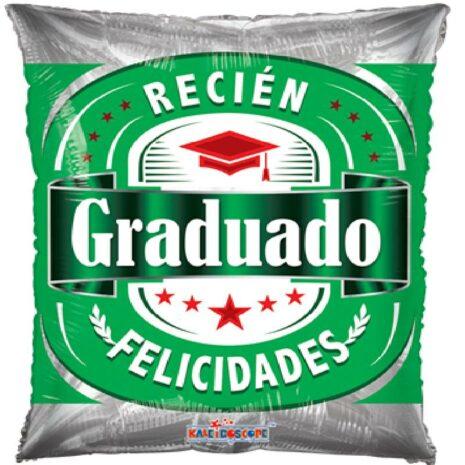 Globo Metalico Recien Graduado Felicidades Estrellas y Birrete de Graduacion, 20 Pulgadas en Forma de Rectangular, Marca Kaleidoscope